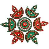 iKreationAcrylic Diya Small Rangoli(Red and Green) - Pack of 7