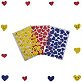 #7: AsianHobbyCrafts EVA Foam Stickers for Scrapbooking, Gift Decoration, hobby crafts etc. Size: 18 x 10 cm Sheet (Happy Heart) Qty: 3 per Pack.