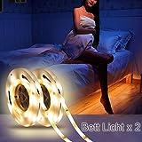Flexible LED Streifenlicht, FUNTELL Bewegungssensor Bett Licht, Auto Ein/Aus Bewegungsmelder, Led Beleuchtung Bett(2 pack, warm light)
