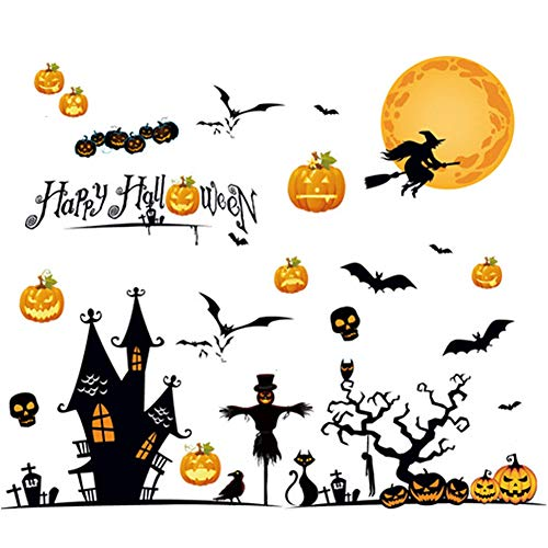 Halloween Wandaufkleber, Wandtattoo, Halloween Kürbis Laterne Kopf Spider schwarz Fledermaus-Hexe Besen Schloss Party Wandtattoo DIY Home Deko PVC Entfernbar Wandsticker Halloween wanddekoration