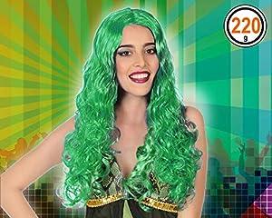 Atosa-Atosa-43650-Accesorio-Peluca verde Atosa-43650-Accesorio-Peluca Rizada Larga, Color (43650)