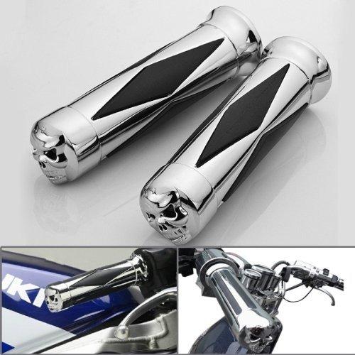 Motorrad Zubehör voll Aluminium Spikes Stil Drossel Lenker Griffe Lenkergriffe Griffgummis silber Schädel 7/8