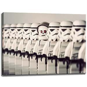 Conception Lego Stormtrooper sur toile, dimensions: 60x40 cm. Art impression de haute qualité comme une fresque. Moins cher qu'une peinture à l'huile! ATTENTION NO affiche!