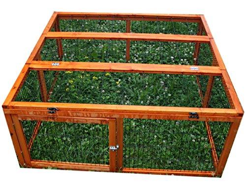 Kaninchen Freilauf Deluxe, Elmato, mit Gitterstäben und Deckel, 120 x 120 x 48 cm