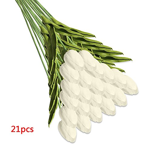 Wingbind fiori artificiali, tulipano, fiori artificiali di fiori a stelo lungo per flower arrangement home office wedding decorazione 21pcs/set white 21pcs