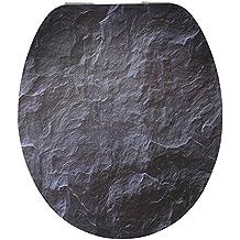 EISL Asiento para inodoro Black Stone con sistema automático de descenso, EDHGBS01