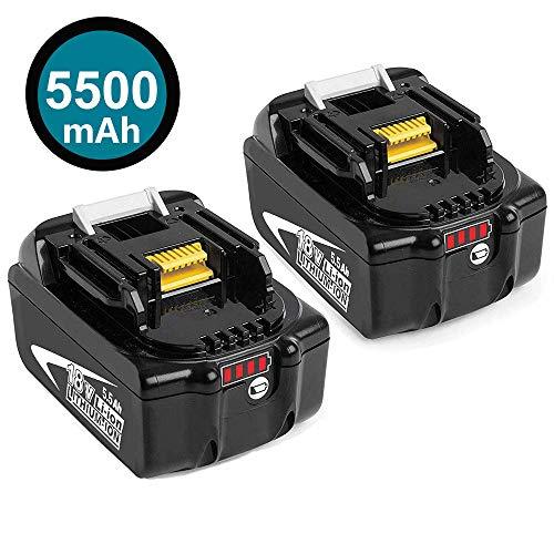 2 Stück 18V 5.5Ah Lithium-Ionen Ersatz für Makita Akku BL1860B BL1860 BL1850B BL1850 BL1830 BL1840 BL1845 BL1815 BL1820 BL1835 194205-3 194204-5 LXT-400 Werkzeugbatterien mit Indikator