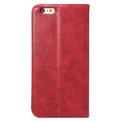 Wkae Case Cover crazy horse textur magnetische horizontale flip - ledertasche mit unternehmer - card - slot für das iphone 6 &65 ( Color : Coffee ) Rot