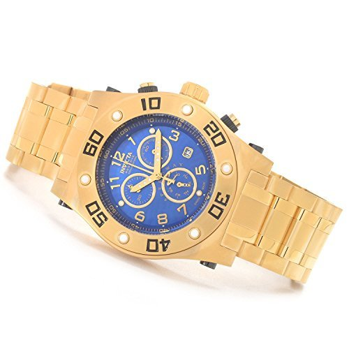 Speedway Swiss Made Chronograph Blue MOP Dial 18k Gold Plated Watch 15765 ()