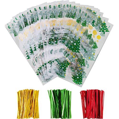 Boao 100 Stücke Weihnachten Kunststoff Behandeln Taschen Klar Goodies Taschen mit 150 Stück Drehung Krawatten für Weihnachten Party Lieferungen (Weihnachtsbaum)