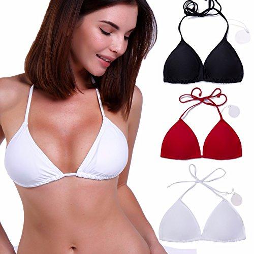 Damen Gespolste V-Hals Bikinioberteile Halter Stil Push up Verstellbare Dreieck Bikini Top Weiß L (Gehäkelte Grüne Kleid)