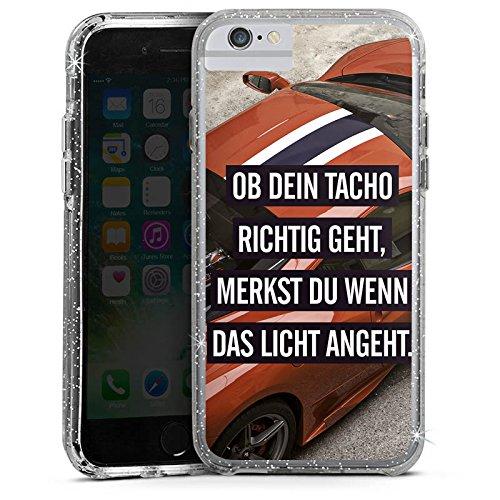 Apple iPhone 6 Bumper Hülle Bumper Case Glitzer Hülle Tacho Sportwagen Car Bumper Case Glitzer silber