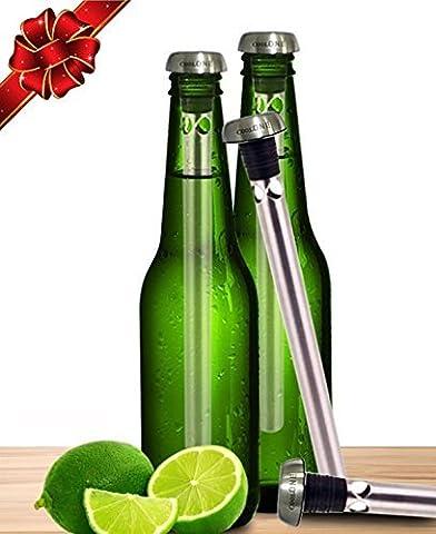 COOL One Beer Chiller–refroidissement de boisson Sticks–Gardez vos Bières à froid Plus longtemps. Unique pères cadeaux pour papa Cadeau. (lot de 2refroidisseurs) Silver