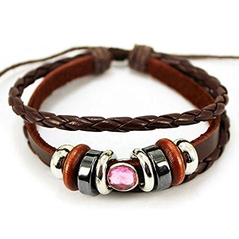 Plus de Fun Unique Couleur Rose Perle en cristal Bracelet marron tissé en corde tressée Bracelet réglable