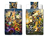 BERONAGE Linon Kinder Bettwäsche Lego Nexo Knights Blue Action- 135 x 200cm + 80 x 80cm - Neu & Ovp - 100% Baumwolle - Lance - Axl - Macy - Clay - Aaron - Jestro Renforcé - deutsche Größe