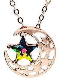 MYA art Kette Halskette Mond-Anhänger mit buntem Stern aus Swarovski  Elements Edelstahl in Rosegold vergoldet… 83cbf1a129