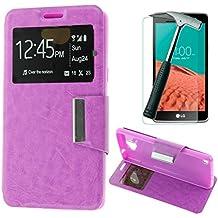 OVIphone Funda Con Tapa Libro Soporte Para LG BELLO 2 X150 + Cristal Templado (Color Morado)