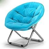 HTZ Stuhl Klappbarer Lazy Chair Großer Erwachsener Stuhl Sonnenliege Lazy Chair Liege Klappstuhl Runder Stuhl 76x52cm A++ (Farbe : Treasure Blue)