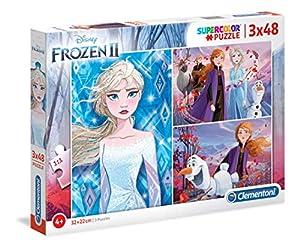 Clementoni 25240 Clementoni-25240 Super Color Disney Frozen - Puzzle para niños (2-3 x 48 Piezas)