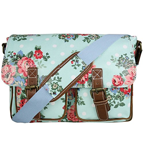 Miss Lulu Damen Schultertasche Umhängetasche Blumen Wachstuchtasche Cross Body Messenger Bag Oilcloth Schule Satchel Tasche, Blume/Blau, Large (Blaue Satchel)