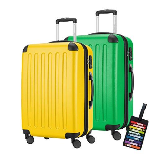 HAUPTSTADTKOFFER · MACH ES BUNT · 2er Hartschalen Kofferset · 82 Liter (ca. 65 x 40 x 30 cm) · SPREE 1203 + DESIGN KOFFERANHÄNGER (Gelb-Apfelgrün)