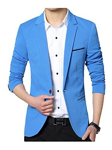 SWISSWELL Herren Slim Fit Sakko Blazer Anzug Jacke EIN-Knopf Casual 2018 Collection Männer Freizeit Anzugssakko Hell Blau S