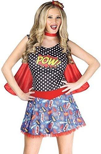 Fancy Me Damen Sexy 3-TLG. Comicbuch Cutie Superheld Tag Kostüm Kleid Outfit - Multi, UK 12-14 (Kostüme Uk Superhelden)
