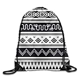 Aztec Pattern Print Drawstring Backpack Rucksack Shoulder Bags Gym Bag Sport Bag