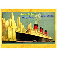"""""""Cunard White Star Line - R.M.S. Queen Mary"""" A4 Glossy Vintage Cruise Line Poster Art Print"""