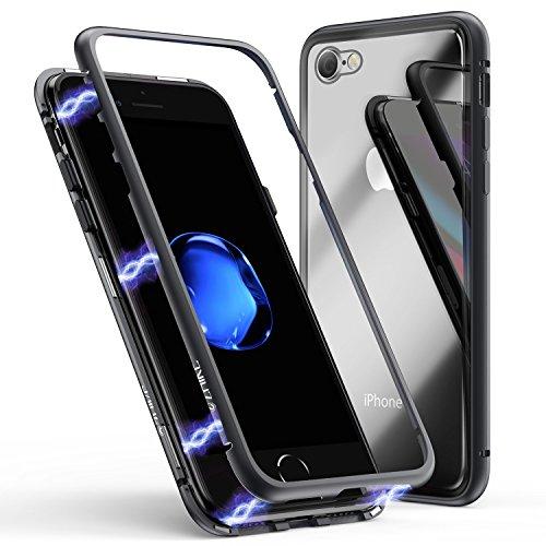 iPhone 7/8 Hülle, ZHIKE Magnetische Adsorption Handyhülle Ultra Dünn Metallrahmen Hartglas mit eingebautem Magnetklappdeckel für iPhone 7/8 (Transparent Schwarz) -