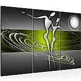 Bilder Abstrakt Figuren Wandbild 120 x 80 cm - 3 Teilig Vlies - Leinwand Bild XXL Format Wandbilder Wohnzimmer Wohnung Deko Kunstdrucke Grün Grau - MADE IN GERMANY - Fertig zum Aufhängen 301231c