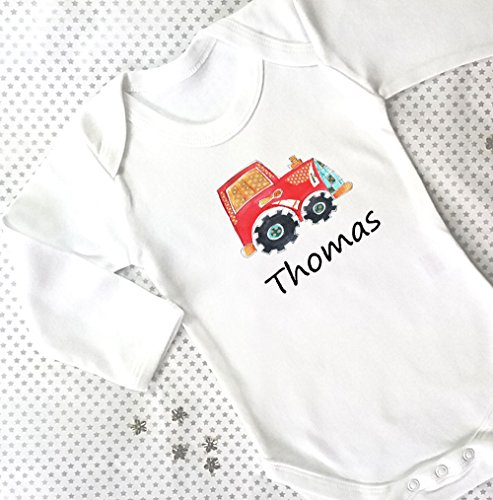 Baby Boy Geschenk, Baby Geschenke, mit Geschenk-Box, Baby Grow, Jungen Baby Kleidung, Name personalisiert hinzugefügt, Traktor (Neugeborenen Traktor Kleidung)