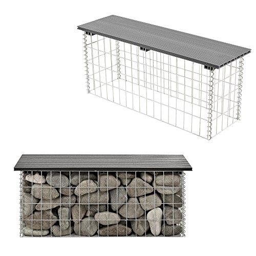 [pro.tec] Hochwertige Gabionenbank mit Sitzfläche aus WPC Grau
