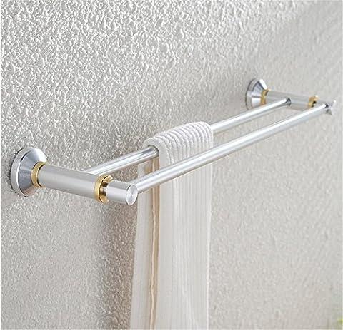 Pingofm Euro l'espace en aluminium Double barre porte-serviettes Doré brossé de salle de bain Porte-serviettes de salle de bain Pendentif,