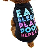 U.Expectating Pet Clothes Pet Shirt, Summer Cute Dog Clothing Polyester Letter Print T-Shirt Puppy Costume For Small Dog (M, Black)
