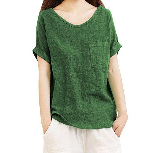 iHENGH Karnevalsaktion Damen Top Bluse Bequem Lässig Mode T-Shirt Frühling Sommer Blusen Frauen Kurzarm Tasche Baumwolle und Leinen T-Shirts Top Bluse(Grün-1, 5XL)