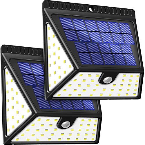 BAXiA Luz Solar Jardín 2400mAh, 1640LM Luces Solares con Sensor de Movimiento de 82 LED, Lampara Solar Exterior, Focos Solares de Seguridad para Jardín Entrada Patios Garaje (2 Piezas)