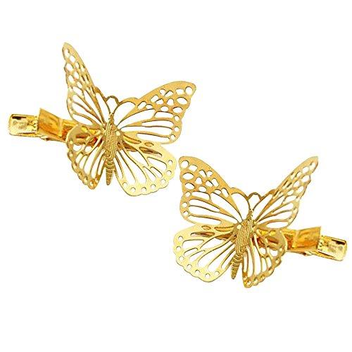 Contever® 1 Conjunto de 2 Piezas de Precioso Horquillas Accesorios para el Cabello Pelo de La Mariposa del Clip de La Garra del