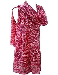 Long Pure Silk Batik Scarf Bali Leaf in Candy Pink