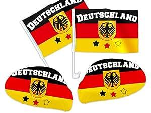 4 tlg. Alsino Deutschland DE-02 WM Fanartikel Auto Fanset 2014 Fanpaket AutoflaggenSpiegelüberzug Autofahne