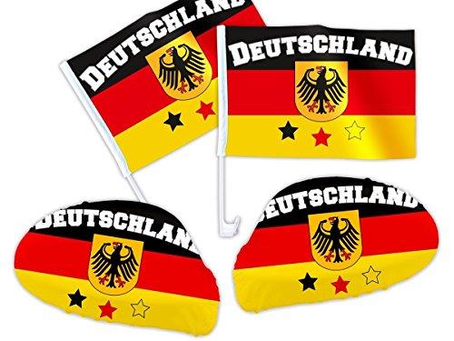 Deutschland Fanset für`s Auto - WM Fanartikel Paket - 2x Außenspiegel Überzug, 2x Autoflagge - Auto-Fahnen DE-02 von ALSINO