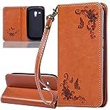 ISAKEN Galaxy S3 Mini Hülle, PU Leder Geldbörse Case Ledertasche Handyhülle Tasche Schutzhülle Hülle mit Handschlaufe für Samsung Galaxy S3 Mini I8190 I8200 - Rose Schmetterlinge Braun