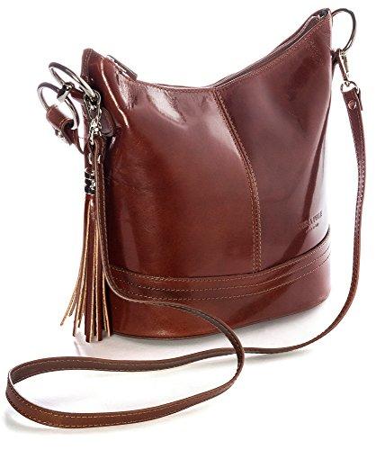 Big Handbag Shop mittelgroße Damen Schultertasche aus echtem Leder mit Obergriff und Bucketform Coffee