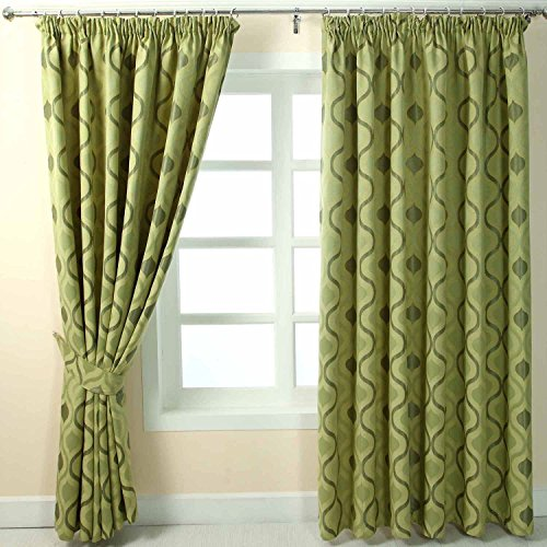 Homescapes Green Jacquard Pencil Pleat Curtain Pair Modern Wave Design – 228cm (90″) Wide x 228cm (90″) Drop