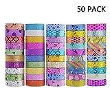 Kalolary Glitter Washi Tape-Set-50 Rolls Washi Masking Dekorative Bänder für DIY, Geschenkverpackung und Partyangebot mit bunten Designs und Muster