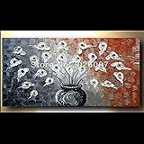 Hohe Qualität handbemalt Landschaft abstrakt Palette Ölgemälde braun Vase und Blume Wandbild Ölgemälde House Wohnzimmer Artwork, canvas, braun, 28x56inch(70x140cm)