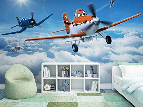 Sunny Decor SD465 Fototapete Planes Above The Clouds, Bunt, 368 x 254 cm,  8 Teile, Wings around the Globe, Tapete, Disney (Globes Disney)