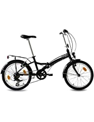 "20"" FOLDING BIKE ALLOY CITY BIKE FOLDO 6 speed SHIMANO Unisex black (s) - (20 inch)"