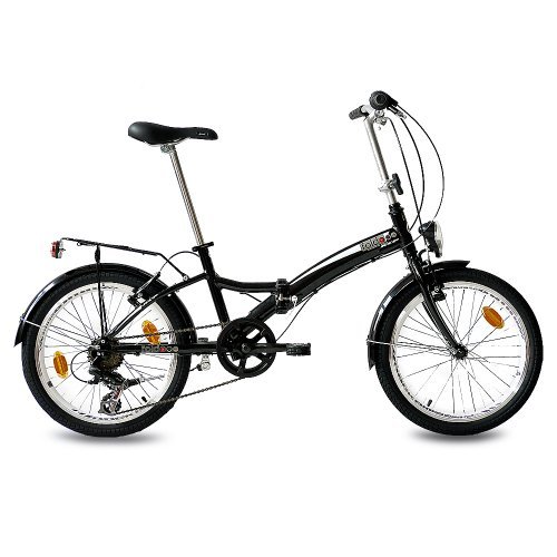 20 FOLDING BIKE ALLOY CITY BIKE FOLDO 6 SPEED SHIMANO UNISEX BLACK (S) - (20 INCH)