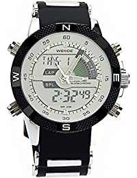 PIXNOR Hora Dual WEIDE WH-1104 impermeable de los hombres deportivos LED Digital reloj de pulsera de cuarzo con fecha cronómetro alarma correa de caucho (blanco)